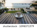 hot coffee on wooden table with ... | Shutterstock . vector #1098371579