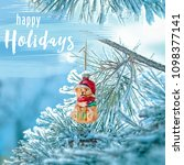 happy holidays lettering card.... | Shutterstock . vector #1098377141