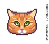 pixel art vector red tabby cat... | Shutterstock .eps vector #1098378881