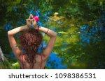 woman practice yoga meditation... | Shutterstock . vector #1098386531