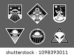 black white set icons with... | Shutterstock .eps vector #1098393011
