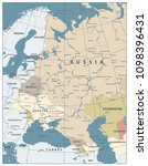 eastern europe map old colors.... | Shutterstock .eps vector #1098396431