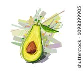 avocado. vector illustration of ... | Shutterstock .eps vector #1098399905