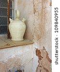 old jug botijo in window of old ... | Shutterstock . vector #109840955