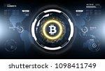 golden bitcoin cryprocurrency... | Shutterstock .eps vector #1098411749