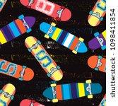 skateboard pattern. seamless... | Shutterstock .eps vector #1098411854