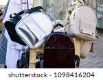 leather stylish backpacks for... | Shutterstock . vector #1098416204