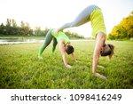 women doing stretching workout...   Shutterstock . vector #1098416249