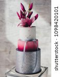 white wedding cake with flowers ... | Shutterstock . vector #1098420101