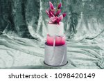 white wedding cake with flowers ... | Shutterstock . vector #1098420149