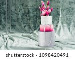 white wedding cake with flowers ... | Shutterstock . vector #1098420491