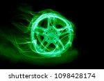 car wheel in glow and smoke | Shutterstock . vector #1098428174