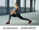 young woman with athletic body... | Shutterstock . vector #1098428939