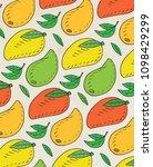 pattern of sweet juicy mango.... | Shutterstock .eps vector #1098429299