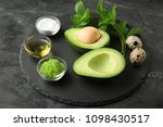 avocado with ingredients for... | Shutterstock . vector #1098430517