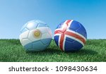 two soccer balls in flags... | Shutterstock . vector #1098430634