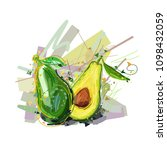 avocado. vector illustration of ... | Shutterstock .eps vector #1098432059