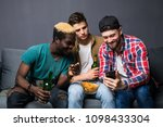 attractive guys are using a... | Shutterstock . vector #1098433304