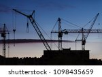 silhouettes of construction... | Shutterstock . vector #1098435659