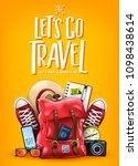 let's go travel let us have a... | Shutterstock .eps vector #1098438614
