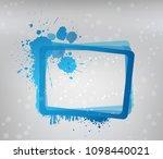 blue grunge frame on gray... | Shutterstock . vector #1098440021