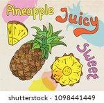 sweet juicy pineapple. summer... | Shutterstock .eps vector #1098441449