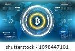 golden bitcoin cryprocurrency... | Shutterstock .eps vector #1098447101