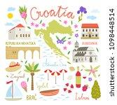 croatia illustration symbols.... | Shutterstock .eps vector #1098448514