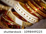 bridal wedding gold bangle... | Shutterstock . vector #1098449225
