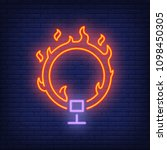 ring on fire neon icon. circus... | Shutterstock .eps vector #1098450305