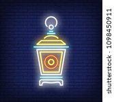 garden lantern neon sign.... | Shutterstock .eps vector #1098450911