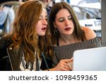 two young and trendy hipster...   Shutterstock . vector #1098459365