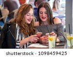 two young and trendy hipster...   Shutterstock . vector #1098459425