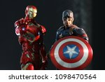Small photo of BANGKOK THAILAND - JANUARY 24,2017 : Close up shot of Captain America and Ironman ,Civil War superheros figure in action ,Captain america appearing in American comic books by Marvel.