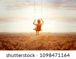 happiness and freedom concept ... | Shutterstock . vector #1098471164