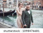 romantic wedding couple near... | Shutterstock . vector #1098476681