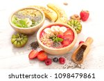 smoothie bowl with muesli and... | Shutterstock . vector #1098479861