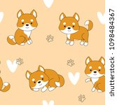 vector pattern with cute dog.... | Shutterstock .eps vector #1098484367