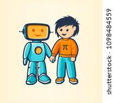 boy and robot | Shutterstock .eps vector #1098484559