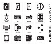 set of 16 simple editable icons ... | Shutterstock .eps vector #1098497147