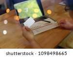 man hands using tablet  laptop... | Shutterstock . vector #1098498665