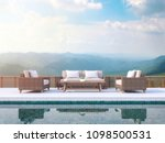 contemporary pool terrace with... | Shutterstock . vector #1098500531