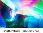 discotheque  with red  blue and ... | Shutterstock . vector #1098519761