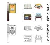 a signboard  a bookstore  a... | Shutterstock .eps vector #1098520385