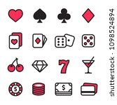 casino line icon set. poker... | Shutterstock .eps vector #1098524894