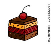 colorful cute cherry cake on... | Shutterstock . vector #1098533084