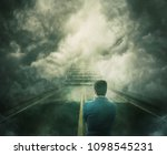 mystic view as a man stand on... | Shutterstock . vector #1098545231