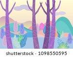 fantastic landscape in a foggy... | Shutterstock .eps vector #1098550595