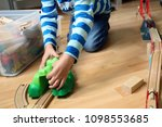 child playing with educational... | Shutterstock . vector #1098553685