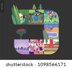 simple things   forest set on a ... | Shutterstock .eps vector #1098566171